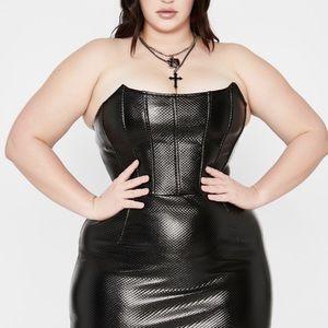 Dolls Kill - Black Quilted Corset Dress